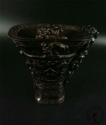 Large Antique Old Chinese Ox Horn Carved Wine Cup Statue HORNLESS DRAGONS