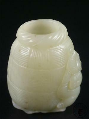 Fine Old Chinese Celadon Nephrite Jade Carved Brush Pot Statue FAIRY BOY & FISH