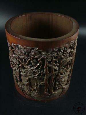 Large Old Chinese Bamboo Carved Brush Pot Statue PINE, BAMBOO & FIGURES