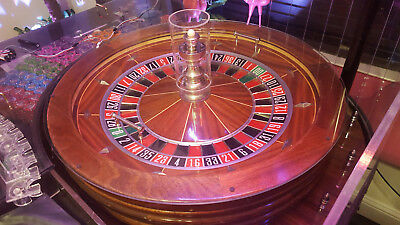 "Full Size 32"" Abbiati 00 Double Zero Roulette Wheel Real Wood"