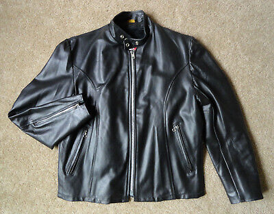 VTG 60s SEARS CAFÉ RACER BLACK LEATHER JACKET ZIP IN LINING SIZE 42