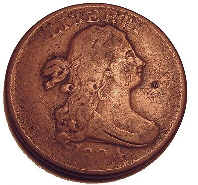 Old Us Coins Rare 1804 Draped Bust Half Cent Highgrade Copper Beauty