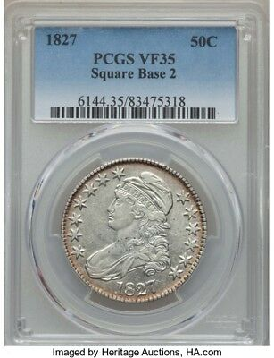 1827 50C Capped Bust Half Dollar PCGS VF35 (Square Base 2)