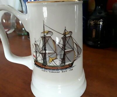 Vintage Weatherby falconware stein mug. Cooks endeavour bark 1768.