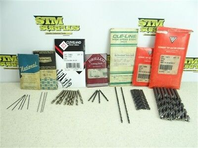 """Nice!! Lot Of 38 Assorted Hss Fraction Drills 3/64"""" To 11/32"""" National Ub Vtd"""