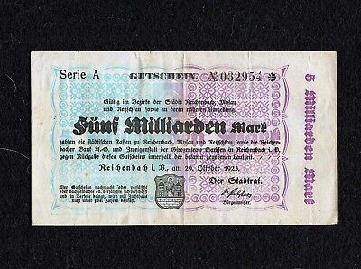 Germany, Funf Milliarden Marks, $5,000,000 Billion - Oct. 29, 1923 - Currency