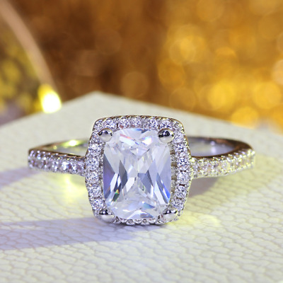 Womens Brilliant 2.0 CT Wedding Engagement Promise RING Silver Plated SIZE 4-9