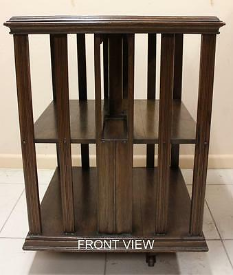 Antique English Oak Revolving Bookcase Circa 1890 Maker's Label
