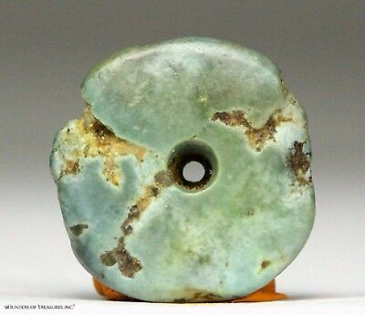 113) Ancient Pre Columbian Moche or Chimu Mosaic Turquoise Stone Disc Bead 15 mm