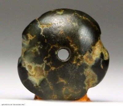 118) Ancient Pre Columbian Moche or Chimu Mosaic Turquoise Stone Disc Bead 14 mm