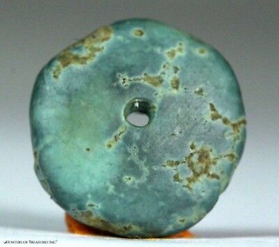 120) Ancient Pre Columbian Moche or Chimu Mosaic Turquoise Stone Disc Bead 16 mm