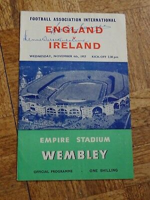 England v N Ireland Nov 6th 1957 signed by Kenneth Wolstenholme & Wally Barnes