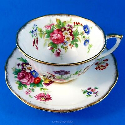 """Bright Floral Bouquet """"Minuet"""" Roslyn Tea Cup and Saucer Set"""