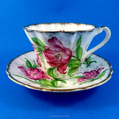Stunning Pink Tulip Rembrandt Gladstone Tea Cup and Saucer Set
