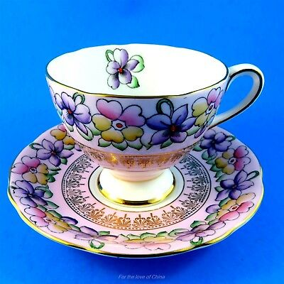 Pretty Purple Violets and Pansies on Pink Gladstone Tea Cup and Saucer Set