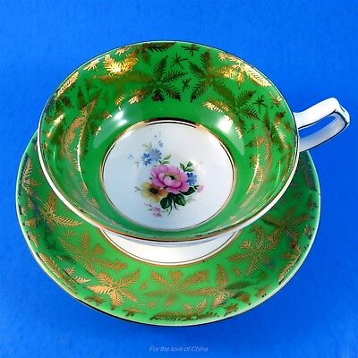 Emerald Green with Floral Center Gladstone Tea Cup and Saucer Set