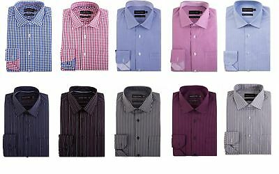 """Double Two Mens Pure Cotton Easy Care LS Shirts,Collar 15""""-23"""", Multiple Options"""