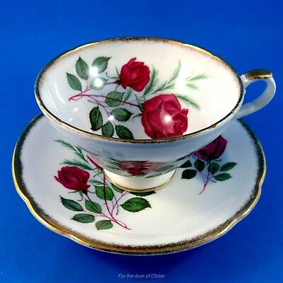 Striking Deep Red Roses Staffordshire Tea Cup & Saucer Set