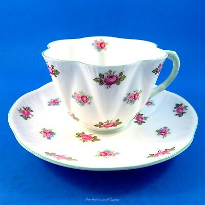 Pretty Dainty Green Handle Rosebud Shelley Tea Cup and Saucer Set