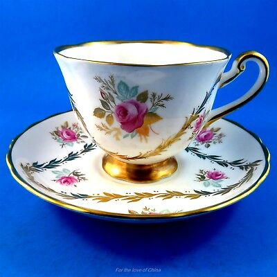 Gold Triangle Garland with Pink Roses Royal Chelsea Tea Cup and Saucer Set
