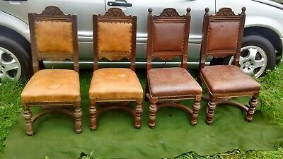 4 Gillows Antique dining chairs. C.1890. Mahogany. Very sturdy.  Heavy quality.