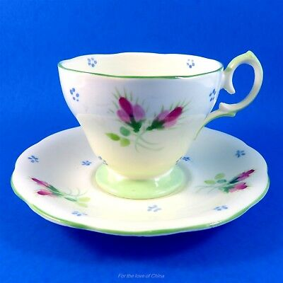 Pretty Handpainted Floral on Pale Green Bell Tea Cup and Saucer Set