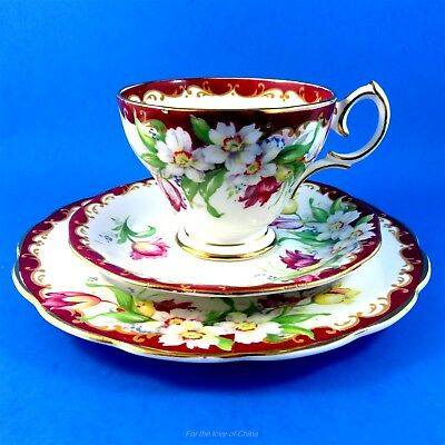 """Stunning Deep Red Edge """"Narcissus""""  Bell China Tea Cup, Saucer & Plate Trio Set"""