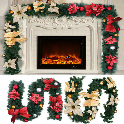 UK 6ft Red Gold Decorated Christmas Garland Decoration Xmas Fireplace Tree Pine