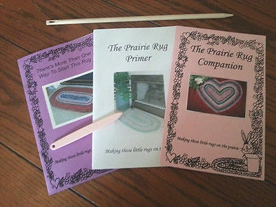 Prairie Home Rugs 3 Rugmaking Books with Starting Needle and Toothbrush Tool