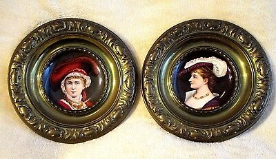 STUNNING PAIR OF HAND PAINTED PORTRAITS ON PORCELAIN IN BRASS CHARGERS,c1890s