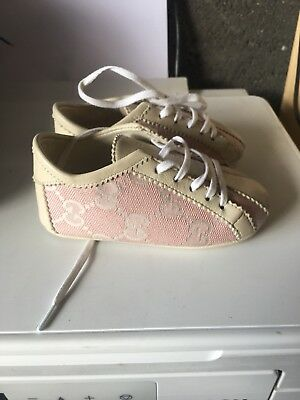 Baby Girls Gucci Pram Shoes Pink And Cream Size 0-6 Months