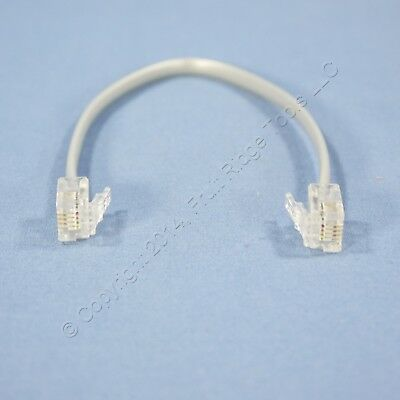 "New Leviton Gray 7"" 4-Wire Modular Line Connector Cord Patch Jumper RJ11 42400-G"