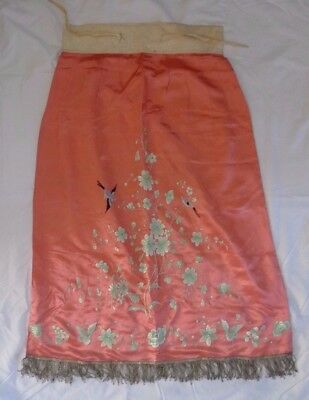 Antique Chinese Silk Embroidered Coral Robe Skirt Fringed