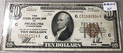 1929 US $10 Ten Dollar. Federal Reserve Banknote.Philadelphia FR1860C. RARE NOTE