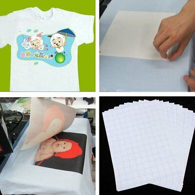 10Pcs T Shirt A4 Transfer Paper Iron On Heat Press Light Fabrics Inkjet Print