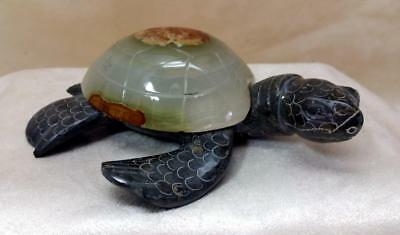 "6"" Carved Black & White Onyx Gemstone Sea Turtle Figurine"