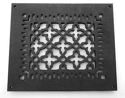 """8"""" x 10 Black Cast Iron Floor Grate Register 10 x 12 Overall 5/16"""" Thick"""