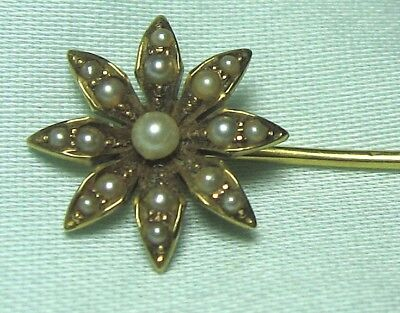 "14K Gold Stick Pin w Pearls 1.8 grams 2 1/2""      lot 20b8"