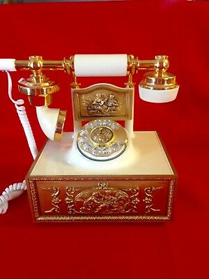 Vintage French Rotary Desk Style Deco Phone, Gold/Ivory