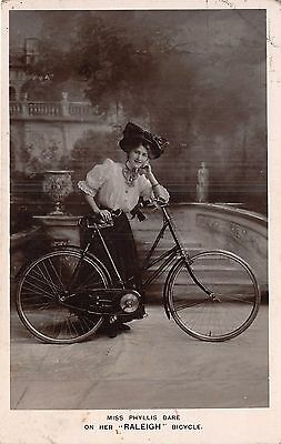 POSTCARD   ADVERTISING   RALEIGH  Bicycle      PHYLLIS  DARE