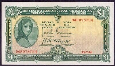 1 Pound From Ireland Lady Lavery 19.7.1946 Payable In London Au+