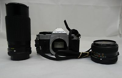 Canon AE-1 Program SLR Film Camera with 2 Lens and Neck Strap