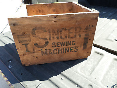 Vintage Singer Sewing Machine Wooden Crate w/ NEW YORK Stamped - Good Condition