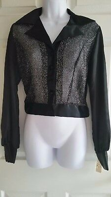 NWT Vintage blouse - sheer with satin arms and collar - size L juniors -Hudson's