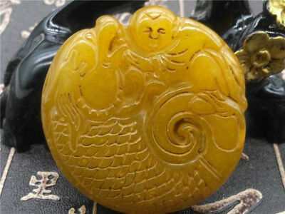 Old China Hand-carved jade Pendant worn aristocratic art collection B94