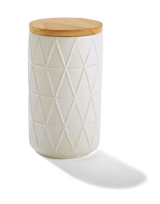 White Embossed Canister with Oak Wood Lid- Kitchen Food / Storage Jar  - Large