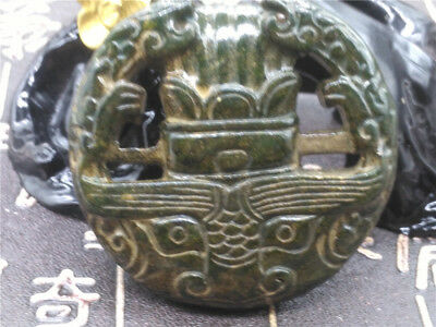 Old China Hand-carved jade Pendant worn aristocratic art collection  B47