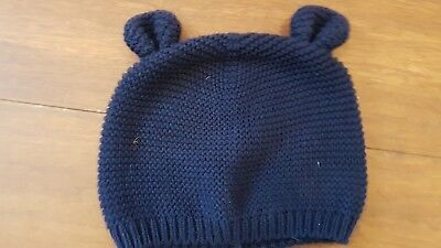Baby Gap Boy Girl Navy Knitted Hat With Ears 3-6 EUC