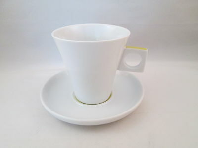 Nescafe Dolce Gusto Coffee Ceramic Mug Cup and Saucer White Yellow 6 oz.