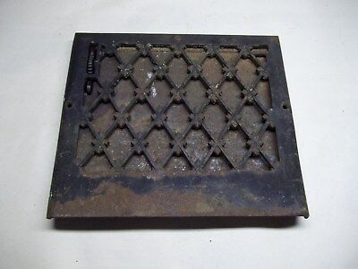 """Vintage antique furnace wall grate or register with louver 13 5/8"""" x 12 1/8"""""""